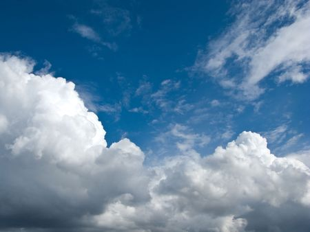 Beautiful white clouds in the blue sky photo