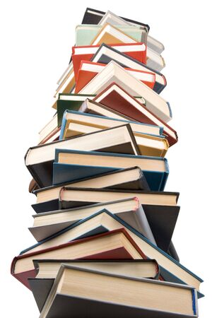 Pile of books isolated on a white background.  Concept for Back to school photo