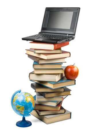 Pile of books, apple, globe and notebook isolated on a white background.  Concept for Back to school photo