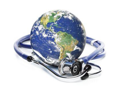 stethoscope exam: Globe with stethoscope on a white background