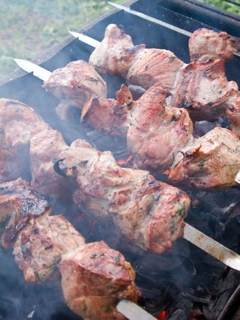 brazier: Shish kebab preparation on a brazier. Outdoor picnic. Close up.