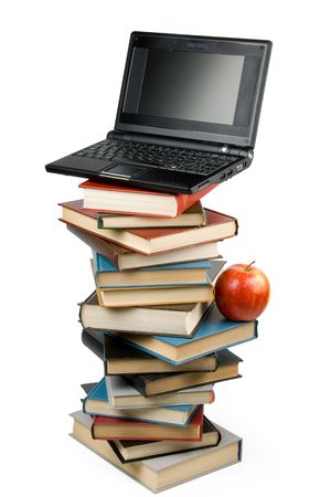 Pile of books, notebook and apple isolated on a white background. Concept for Back to school. Clipping path included photo