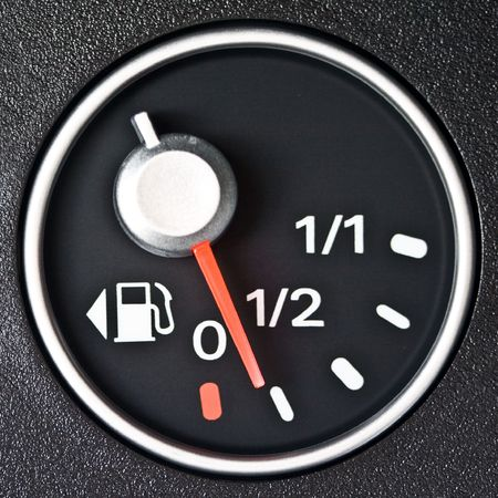 gas gauge: A gas gauge shows almost low petrol level