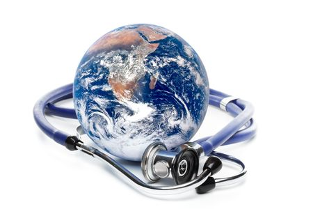 Globe with stethoscope on a white background Stock Photo - 3481139