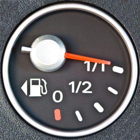 gas gauge: A gas gauge showing full tank level