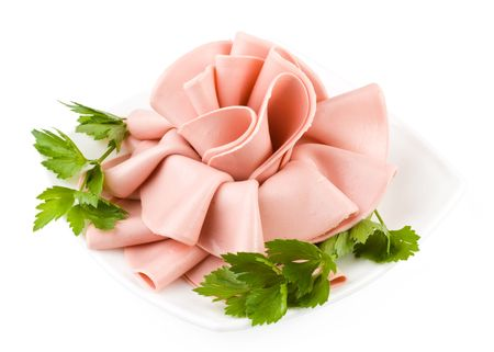 boiled sausage: Rose from boiled sausage on a white background Stock Photo