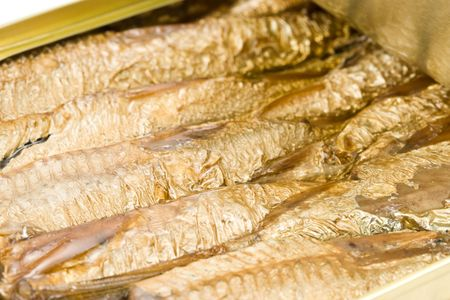 sprats: Can with sprats on a white background