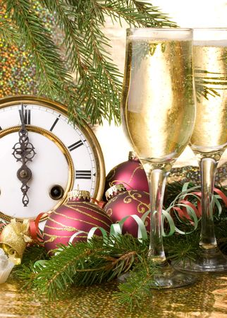 New Year's decoration with an antique clock and a firtree branch Stock Photo - 3609716