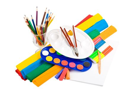 Water colour paints, pencils and brushes on a white Stock Photo - 3620793