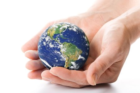 protection of land: The globe in hands. Concept for environment conservation. Stock Photo