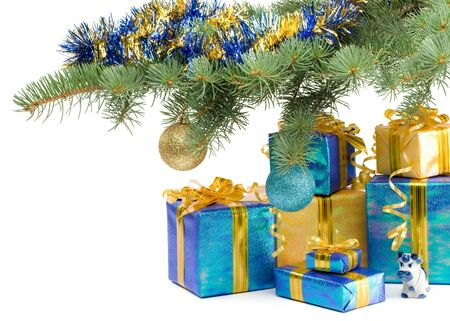 Various gift boxes and fur-tree branch on a white background photo