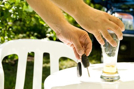Drinking and Driving - Car keys and alcohol Stock Photo - 3702267