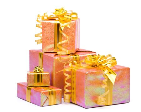Various gift boxes on a white background photo