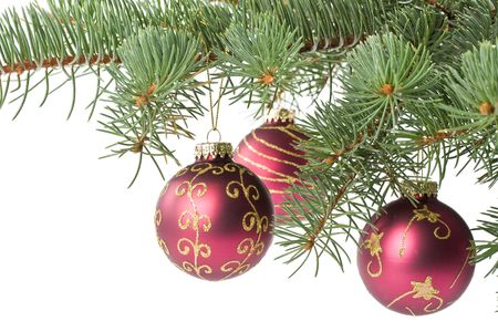 Fir tree branch with decoration on a white background. Close up. Christmas decoration. Stock Photo - 3702291