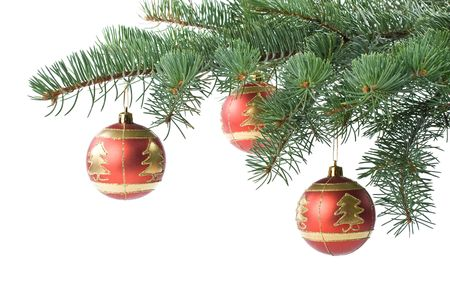 Fir tree branch with decoration on a white background. Close up. Christmas decoration. photo
