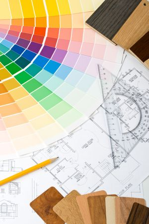 Abstract background from color guide,  samples of materials and the house plan Stock Photo - 3775517