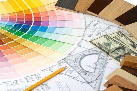 refurbishing: Abstract colore di sfondo da guida, i campioni di materiali e il piano casa Archivio Fotografico