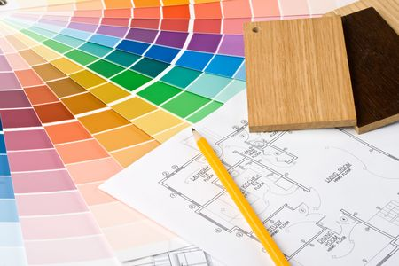Abstract background from color guide,  samples of materials and the house plan Stock Photo - 3790087