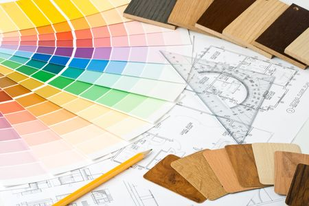 Abstract background from color guide,  samples of materials and the house plan Stock Photo - 3806520