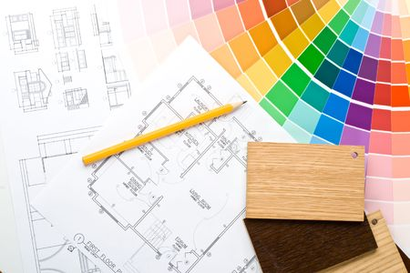 Abstract background from color guide,  samples of materials and the house plan Stock Photo - 3806500