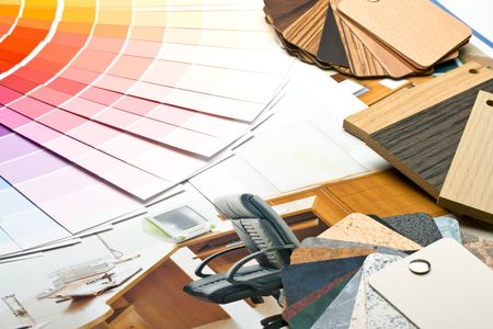 refurbishing: Abstract background from color guide,  samples of materials and furniture catalogue