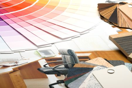 Abstract background from color guide,  samples of materials and furniture catalogue Stock Photo - 3915906