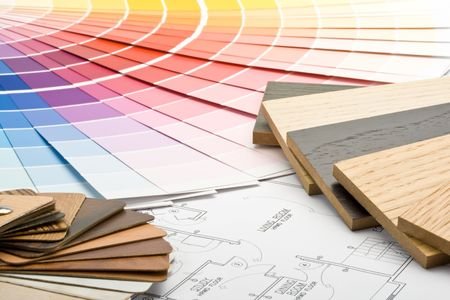 refurbishing: Abstract background from color guide,  samples of materials and the house plan