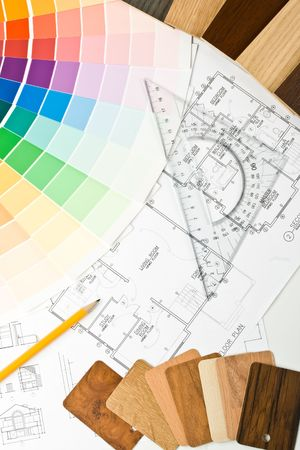 Abstract background from color guide,  samples of materials and the house plan Stock Photo - 3915921