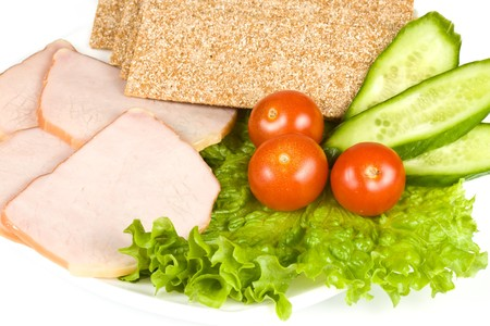 arranged: The sausage cut by slices on a dish Stock Photo