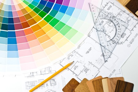 Abstract background from color guide,  samples of materials and the house plan