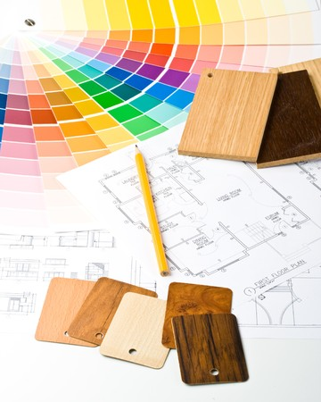 matching: Resumen de antecedentes de la gu�a de color, las muestras de los materiales y el plan de vivienda Foto de archivo