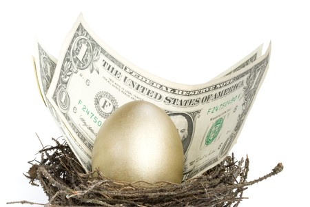 Gold egg and money in a real nest Stock Photo - 4096372