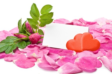 Flower, petals, hearts and blank card for your text Stock Photo - 4096429