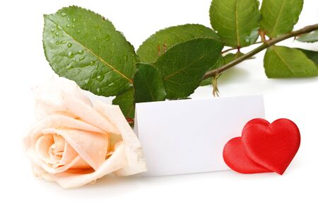 White rose, heart and blank card for your text. Valentines day card. Stock Photo - 4142108