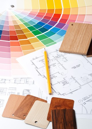 Abstract background from color guide,  samples of materials and the house plan Stock Photo - 4142134