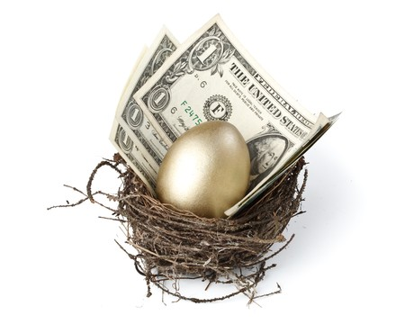 nest egg: Gold egg and money in a real nest