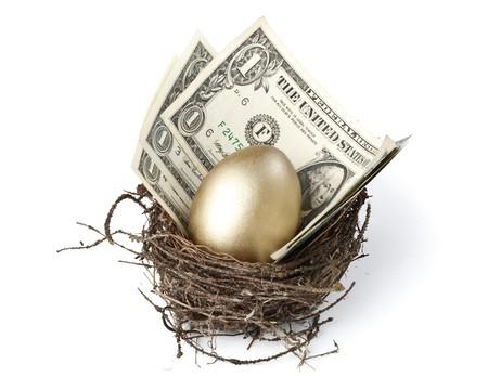 nido de pajaros: Huevo de oro y dinero en un verdadero nido Foto de archivo