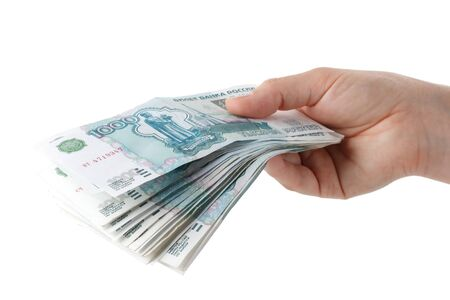 Hand with money  on a white background Stock Photo - 4142082