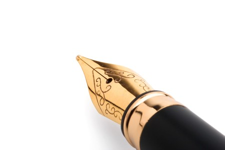 Black classical fountain pen on a white background Stock Photo