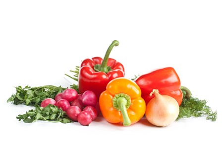 Still-life with fresh vegetables on a white background. Stock Photo - 4152376