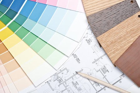 redecorating: Abstract background from color guide,  samples of materials and the house plan