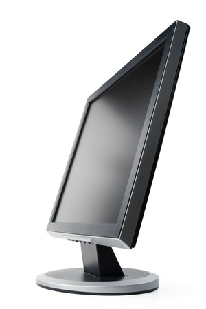 Modern flat screen LCD monitor on a white background. photo