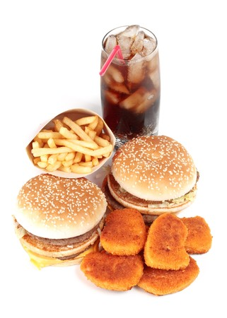 Hamburger, french fries, chicken nuggets and cola on a white background Stock Photo - 4187336