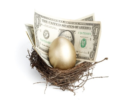 Gold egg and money in a real nest Stock Photo - 4193607