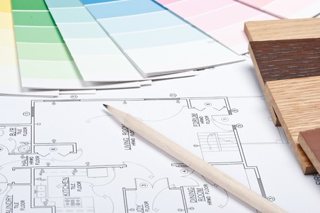 Abstract background from color guide,  samples of materials and the house plan Stock Photo - 4199862