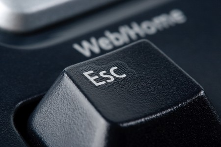 Modern black ergonomic computer keyboard. Close up. Focus on ESC button. Stock Photo - 4214807