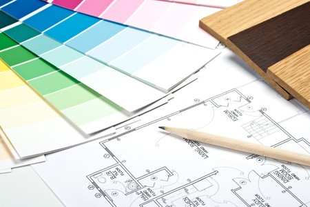 Abstract background from color guide,  samples of materials and the house plan photo