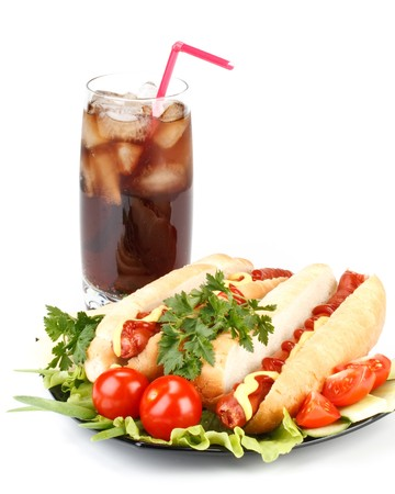 bread soda: Hot dog with vegetables and  a glass of cola  with ice on a white background Stock Photo