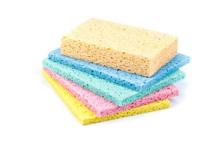 Various household sponges on a white background. Close up. photo