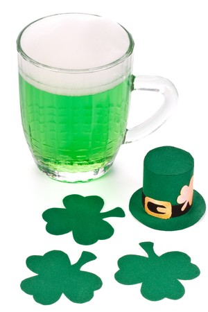 Mug of Green beer, shamrock and Leprechaun hat for St Patrick's Day Stock Photo - 4402704